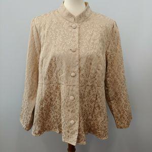 NWT NOS 1X Gold Brocade Jacket Anne Carson Peplum